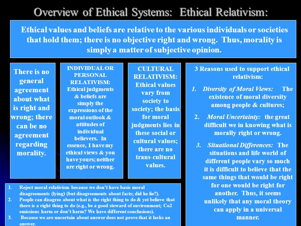 Overview of Ethical Systems: Ethical Relativism: