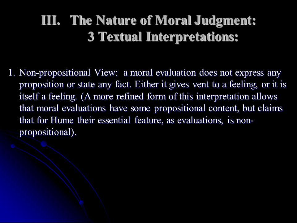 The Nature of Moral Judgment: 3 Textual Interpretations: