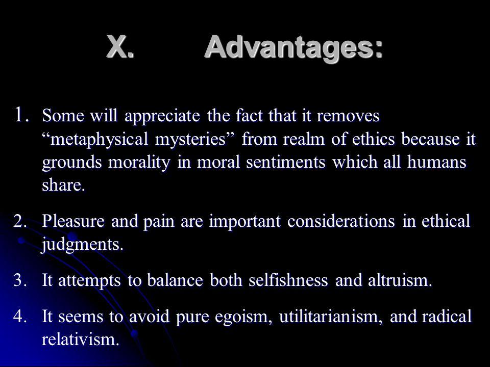 X. Advantages: