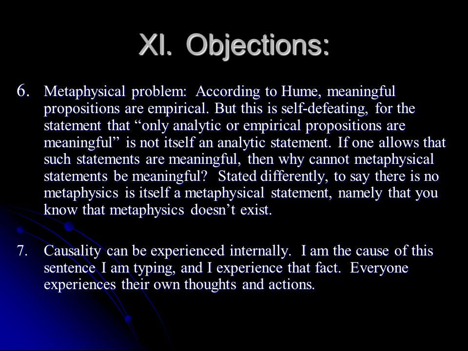 XI. Objections: