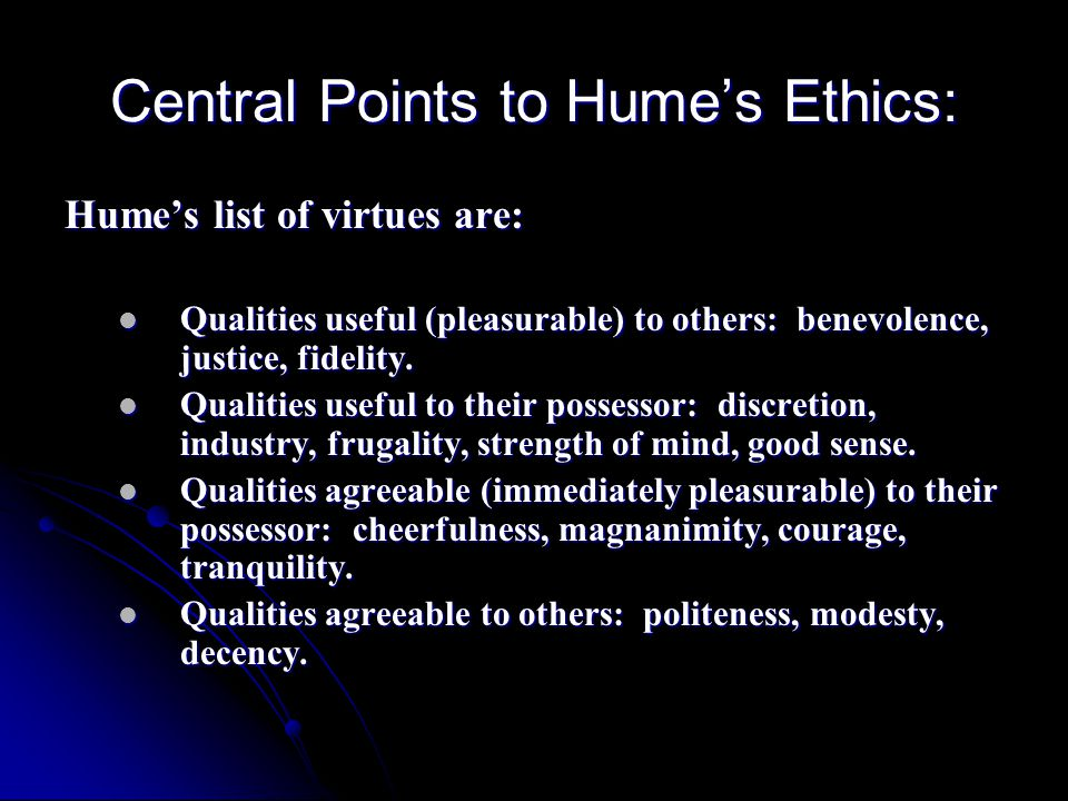 Central Points to Hume's Ethics: