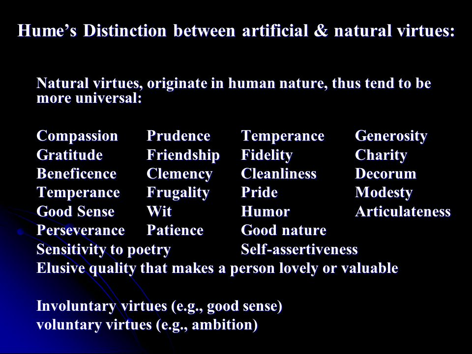 Hume's Distinction between artificial & natural virtues: