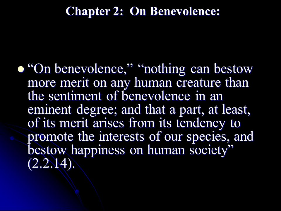 Chapter 2: On Benevolence: