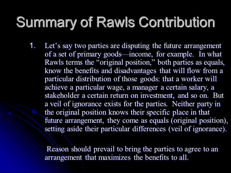 Summary of Rawls Contribution