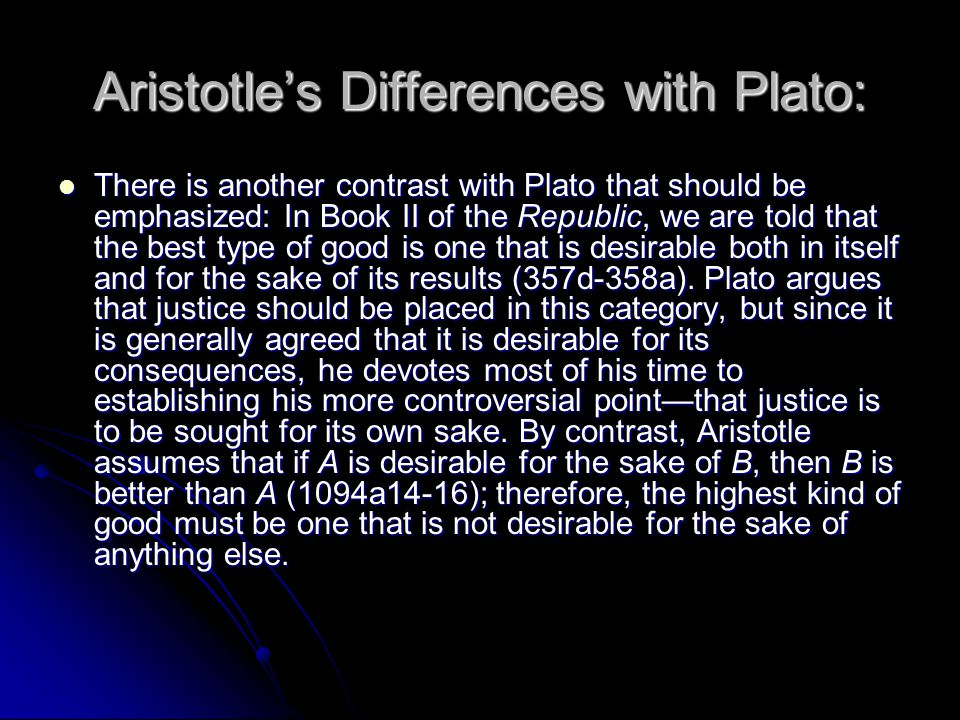Aristotle's Differences with Plato: