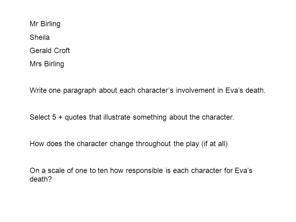 Mr Birling Sheila. Gerald Croft. Mrs Birling. Write one paragraph about each character's involvement in Eva's death.
