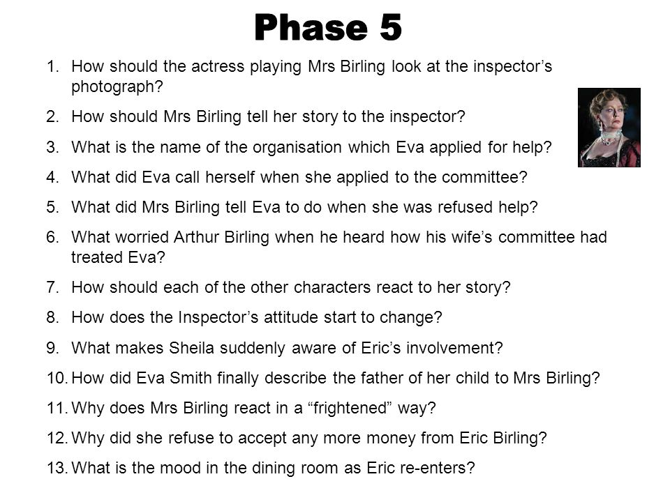 Phase 5 How should the actress playing Mrs Birling look at the inspector's photograph How should Mrs Birling tell her story to the inspector