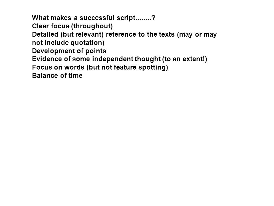 What makes a successful script........