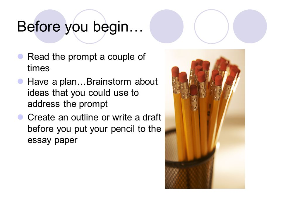 Before you begin… Read the prompt a couple of times