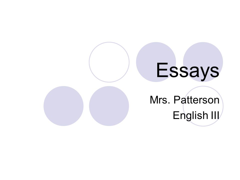 Mrs. Patterson English III