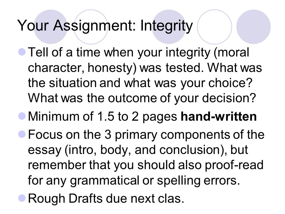 Your Assignment: Integrity