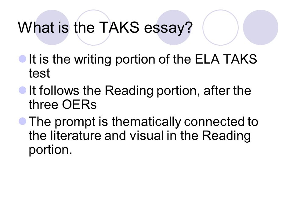 What is the TAKS essay It is the writing portion of the ELA TAKS test