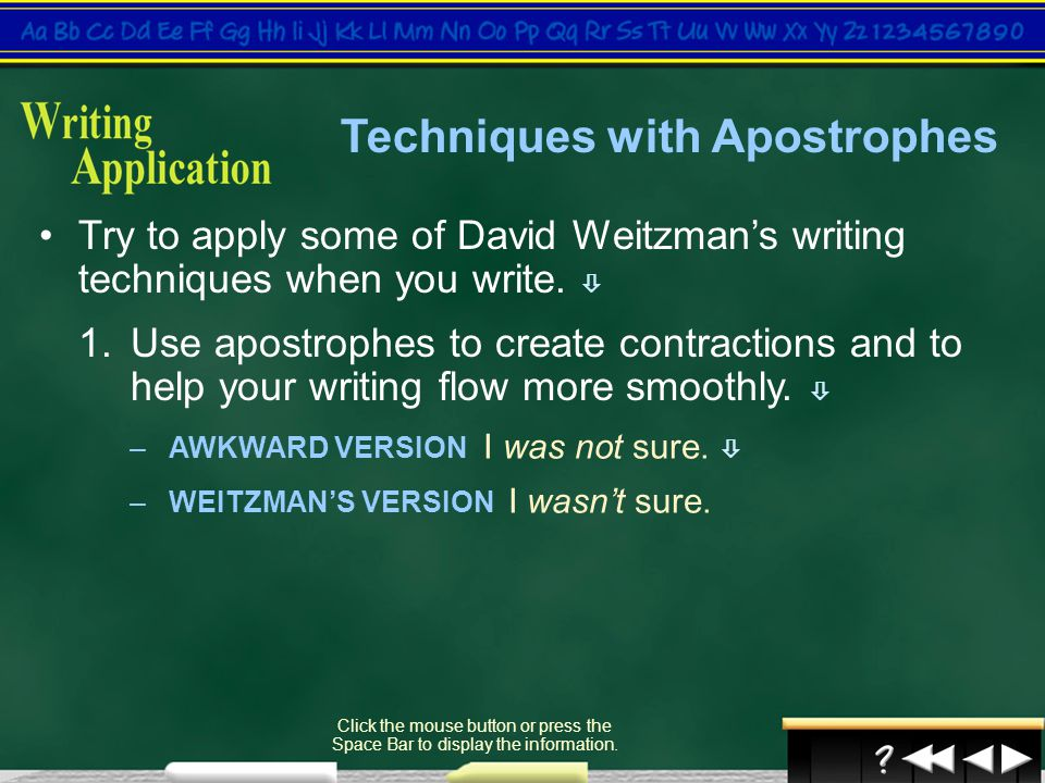 Techniques with Apostrophes