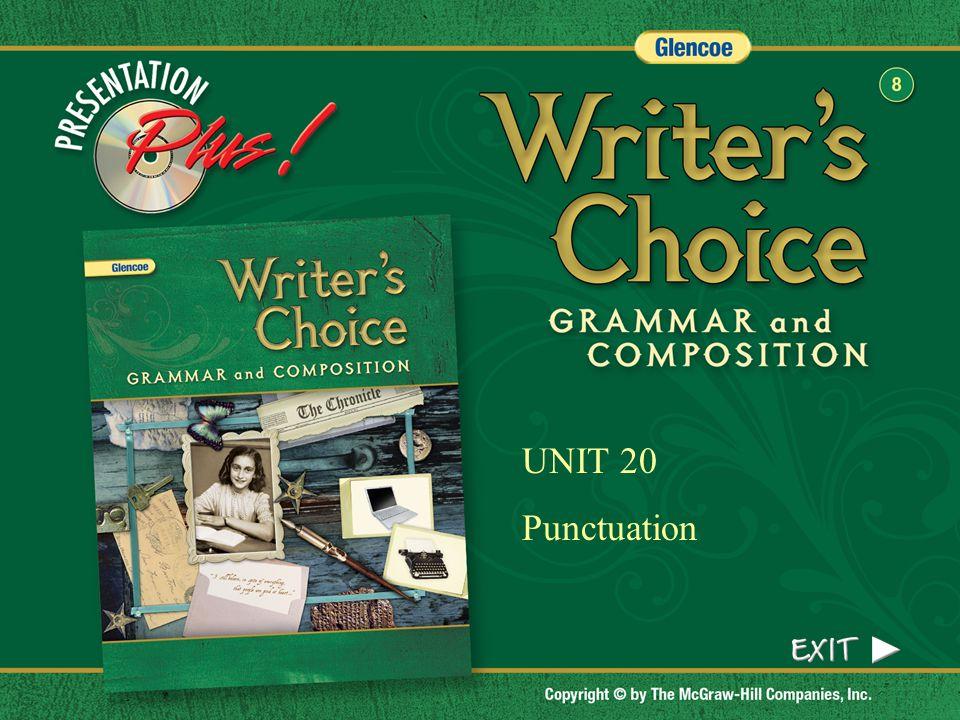 UNIT 20 Punctuation Splash Screen