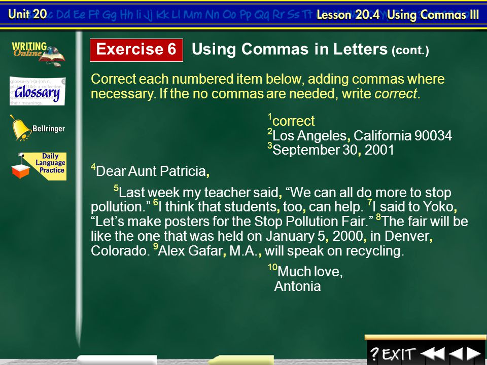 Using Commas in Letters (cont.)