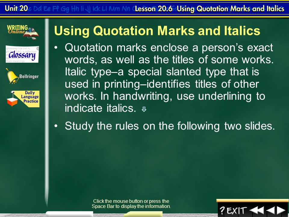 Using Quotation Marks and Italics