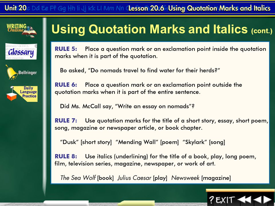 Using Quotation Marks and Italics (cont.)