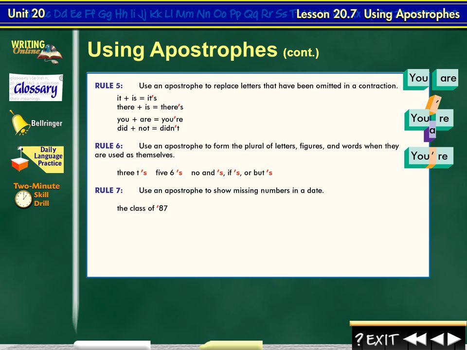 Using Apostrophes (cont.)