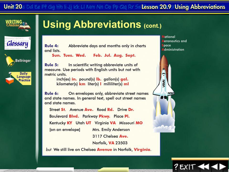 Using Abbreviations (cont.)