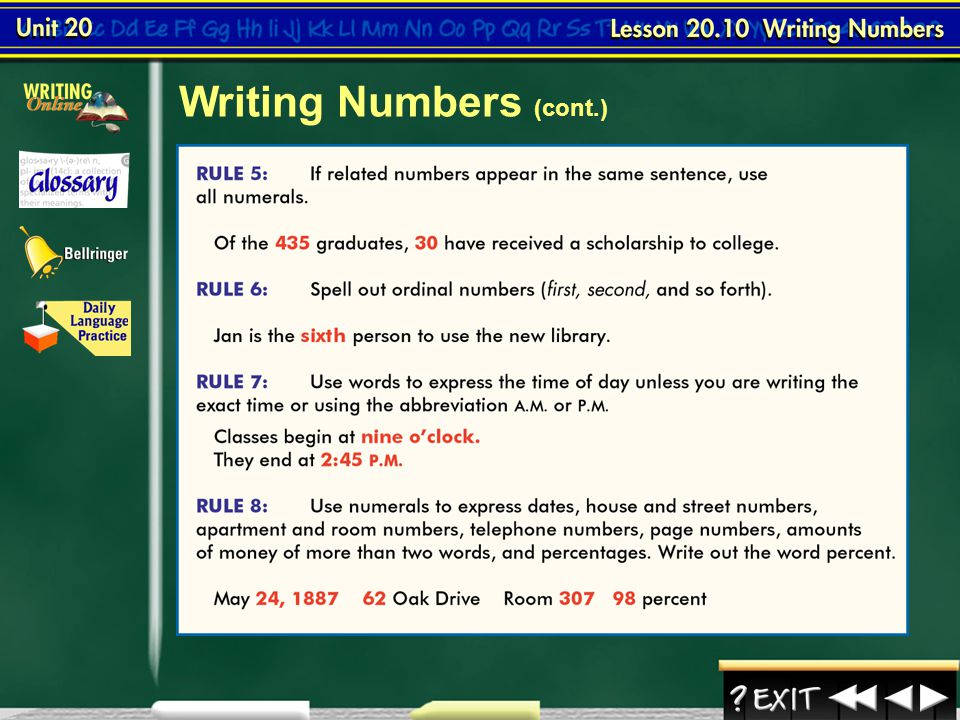 Writing Numbers (cont.)