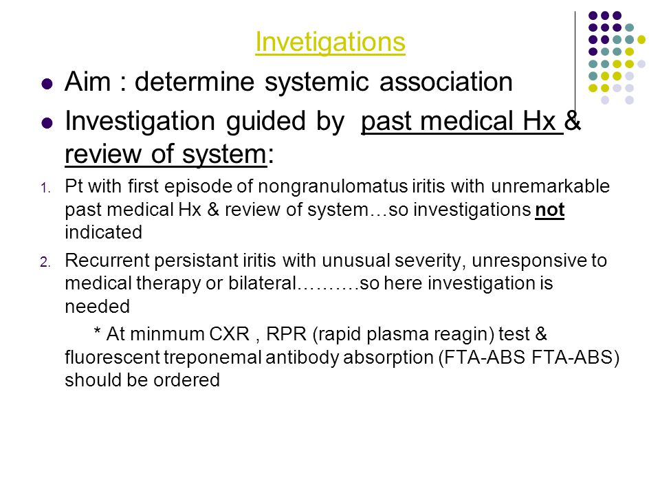 Aim : determine systemic association