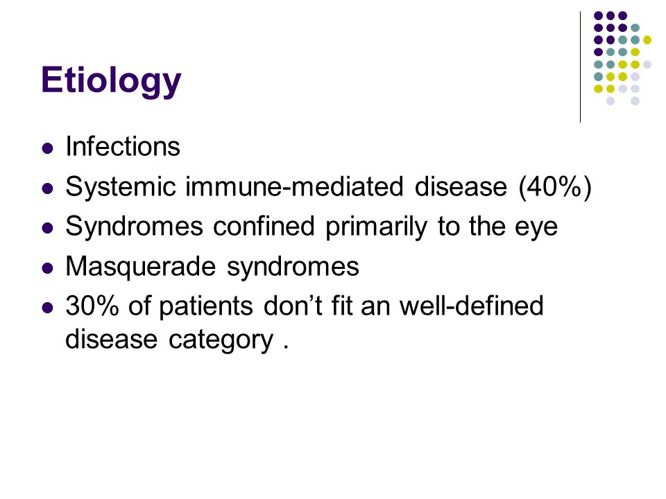 Etiology Infections Systemic immune-mediated disease (40%)