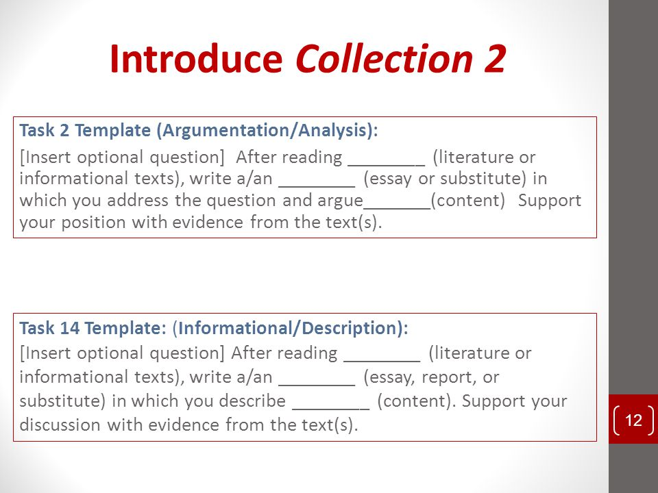 Introduce Collection 2 Task 2 Template (Argumentation/Analysis):