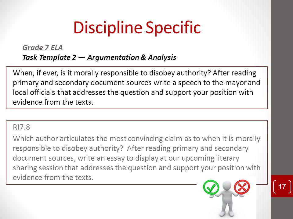 Discipline Specific Grade 7 ELA Task Template 2 — Argumentation & Analysis
