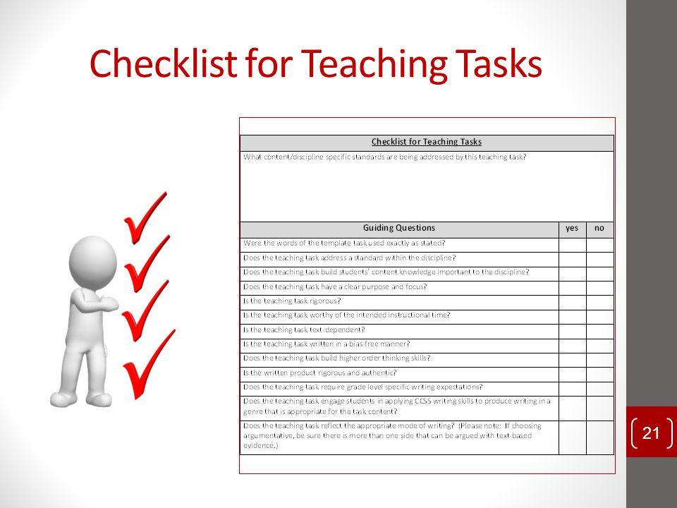 Checklist for Teaching Tasks