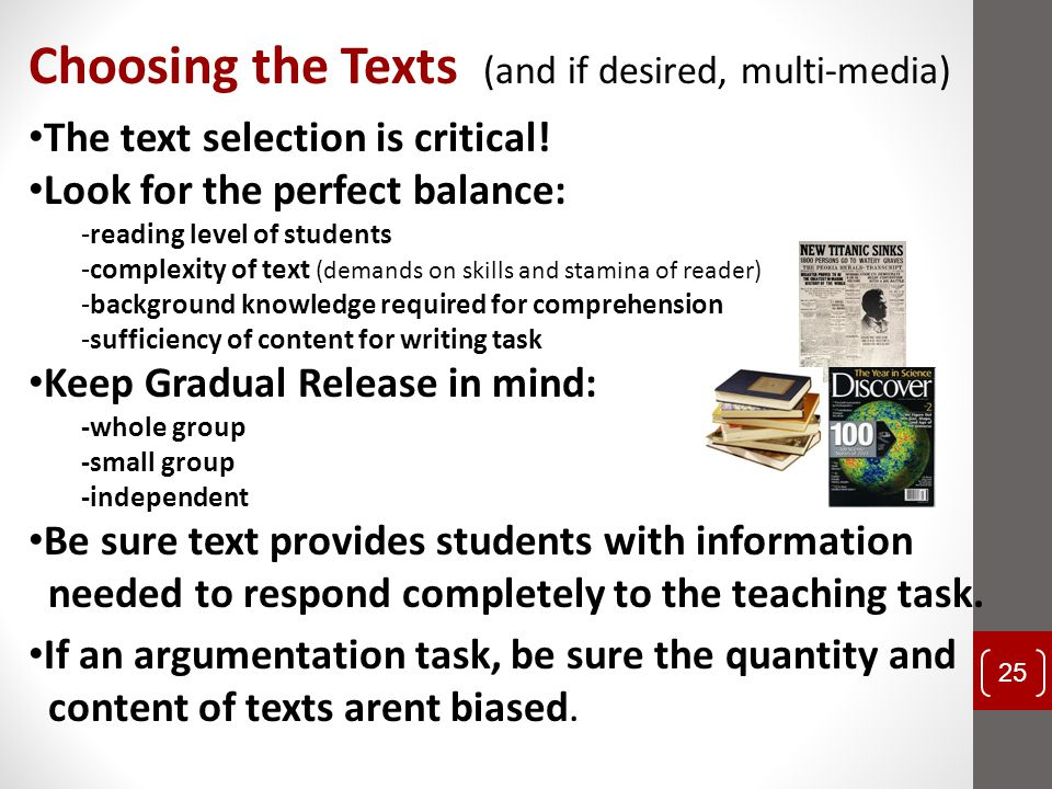 Choosing the Texts (and if desired, multi-media)