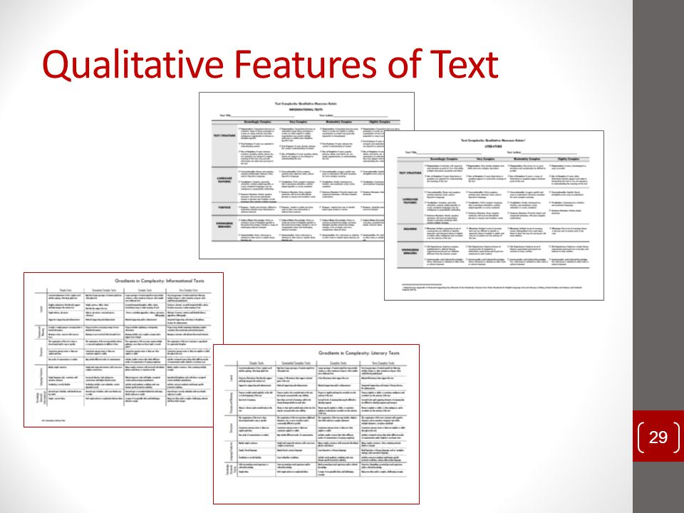 Qualitative Features of Text