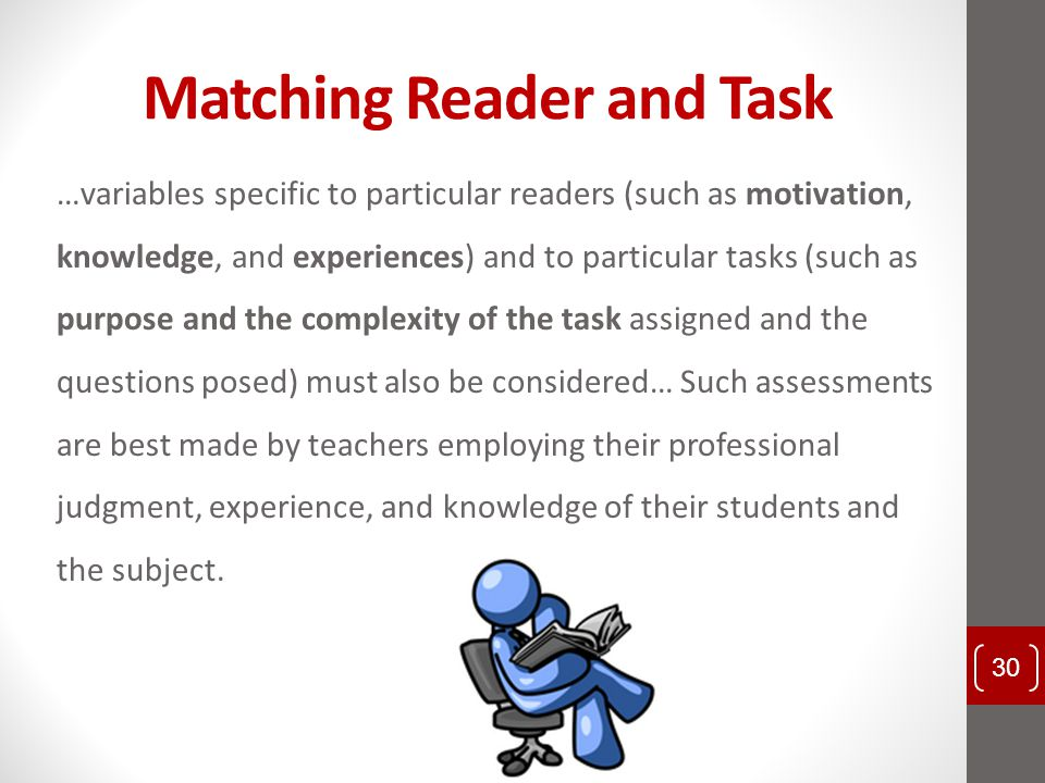 Matching Reader and Task