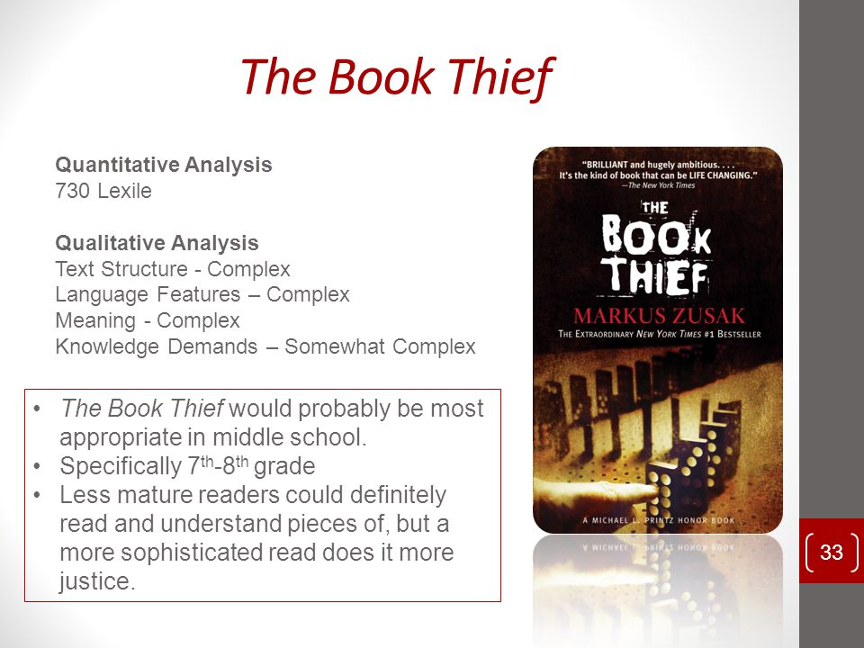 The Book Thief Quantitative Analysis. 730 Lexile. Qualitative Analysis. Text Structure - Complex.