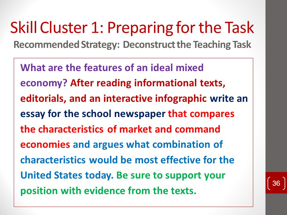 Skill Cluster 1: Preparing for the Task Recommended Strategy: Deconstruct the Teaching Task