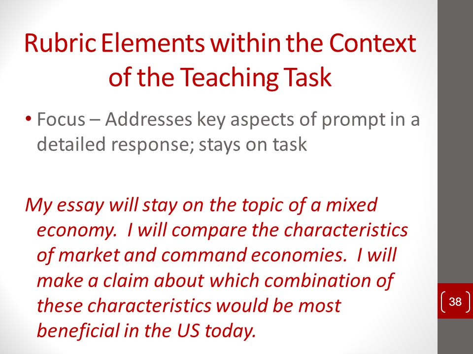 Rubric Elements within the Context of the Teaching Task