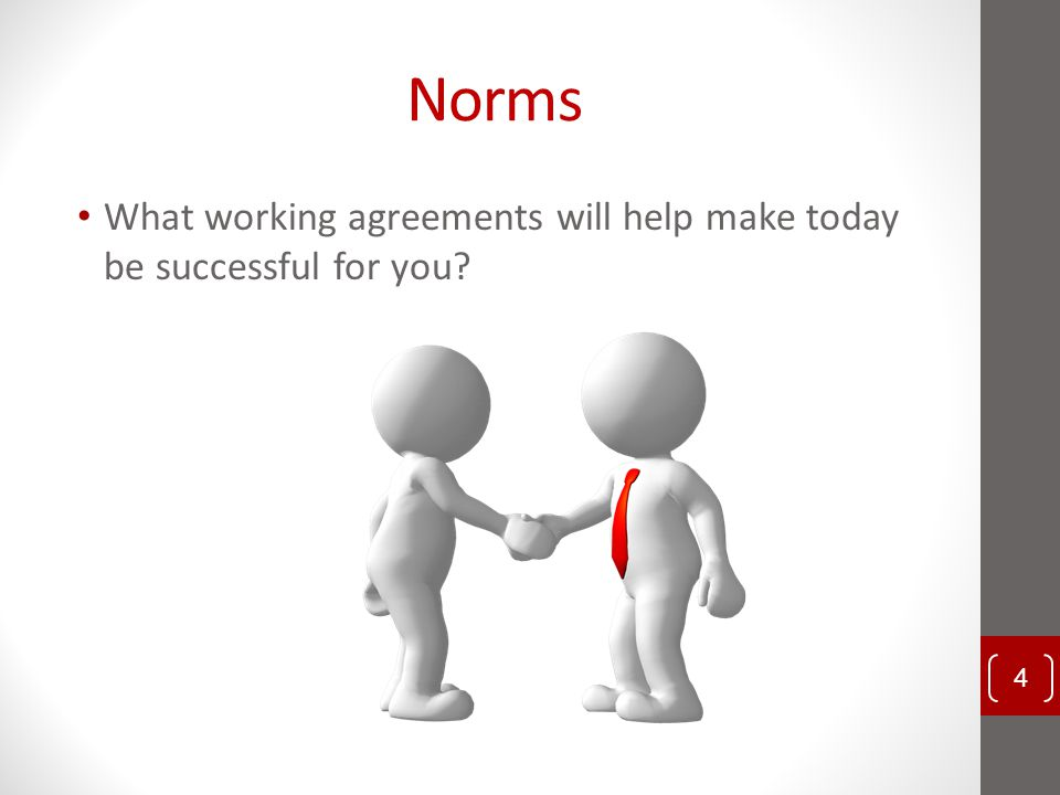Norms What working agreements will help make today be successful for you.