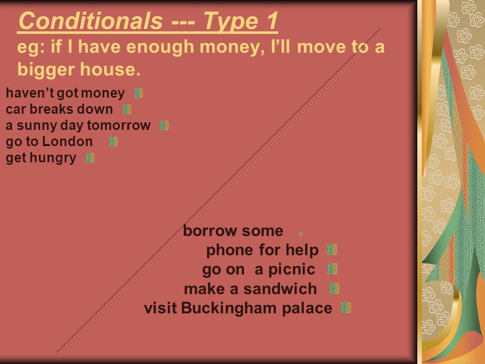 Conditionals --- Type 1 eg: if I have enough money, I'll move to a bigger house.
