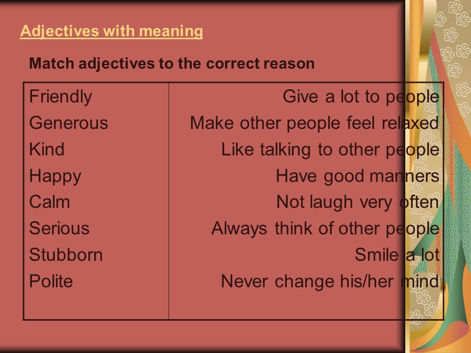 Adjectives with meaning