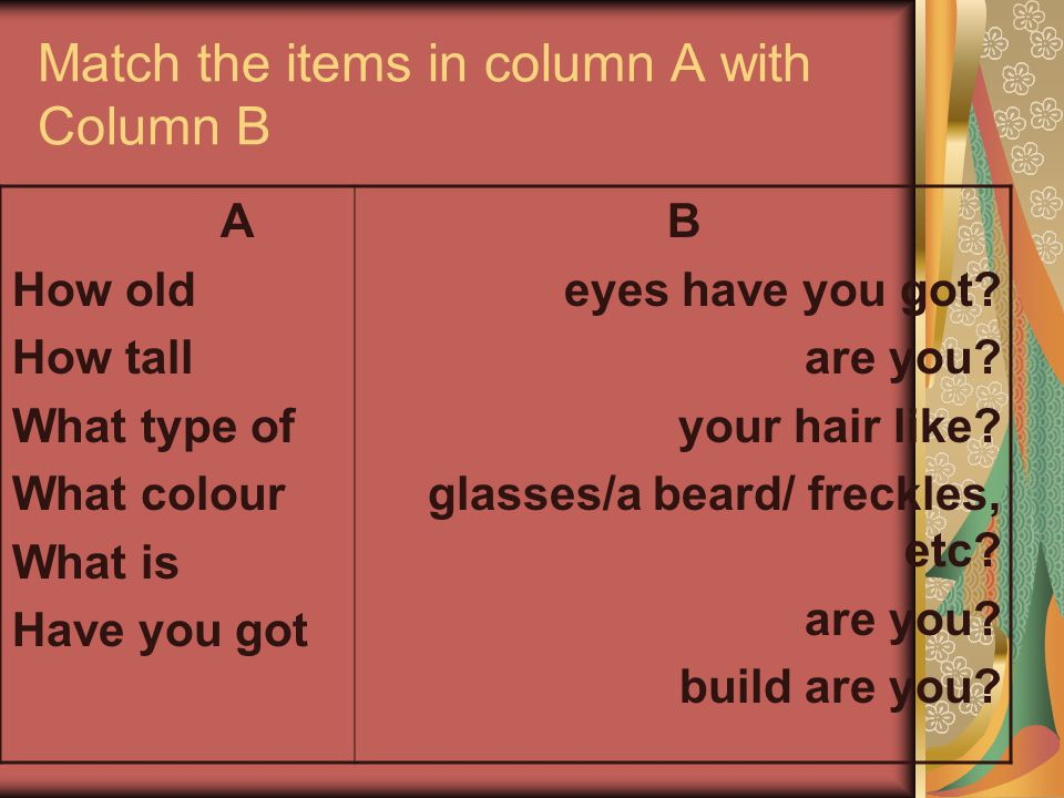 Match the items in column A with Column B