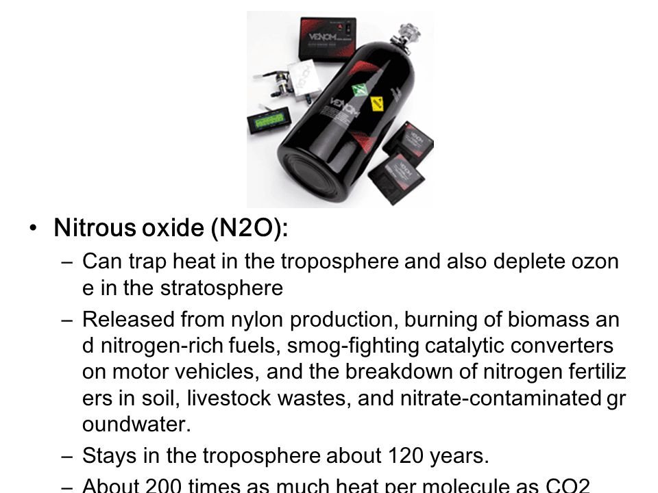 Nitrous oxide (N2O): Can trap heat in the troposphere and also deplete ozone in the stratosphere.
