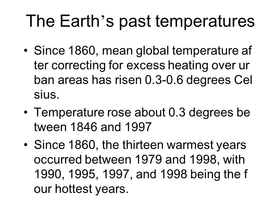 The Earth's past temperatures