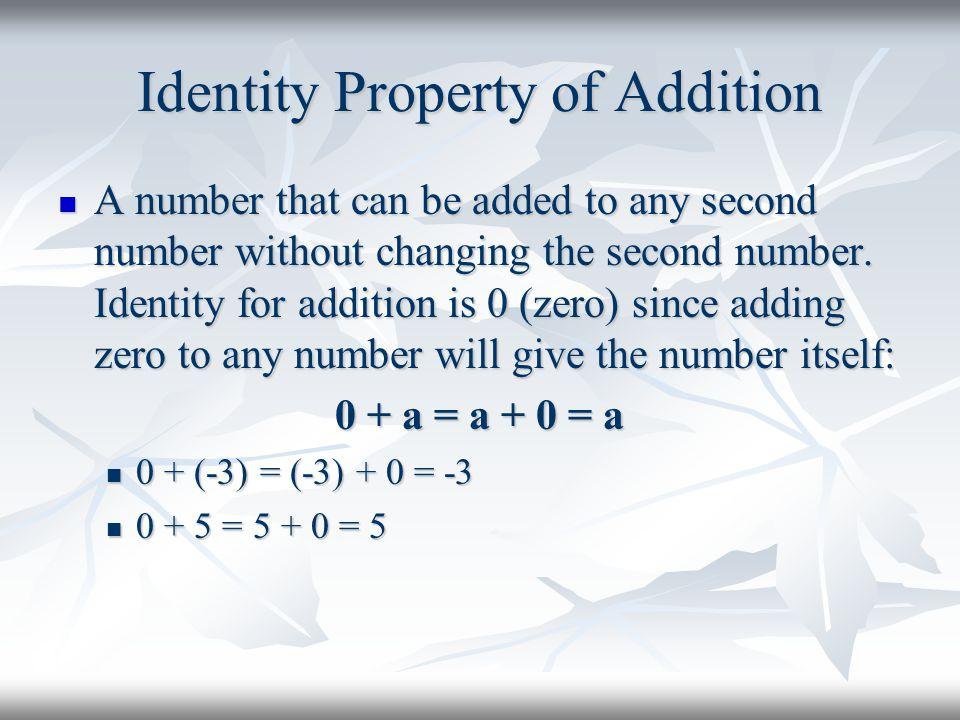 Identity Property of Addition