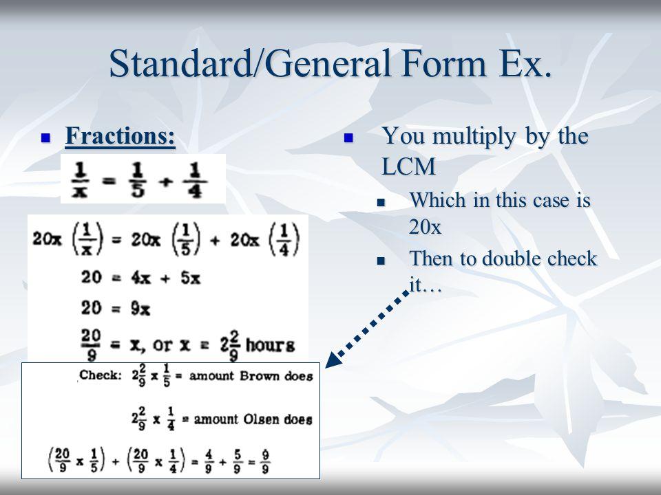 Standard/General Form Ex.