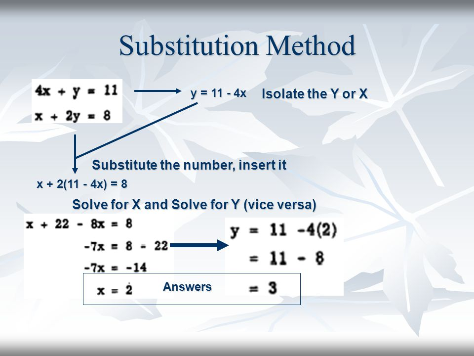 Substitution Method Isolate the Y or X