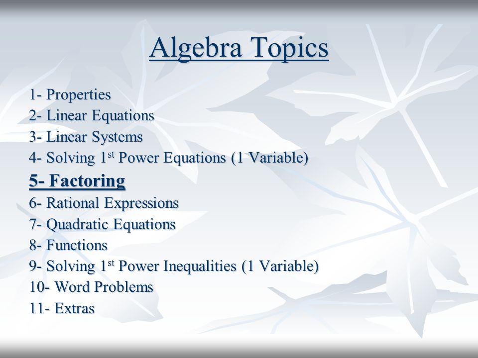 Algebra Topics 5- Factoring 1- Properties 2- Linear Equations
