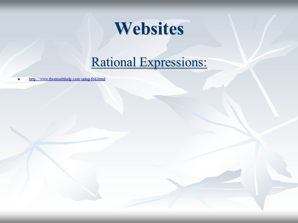 Rational Expressions:
