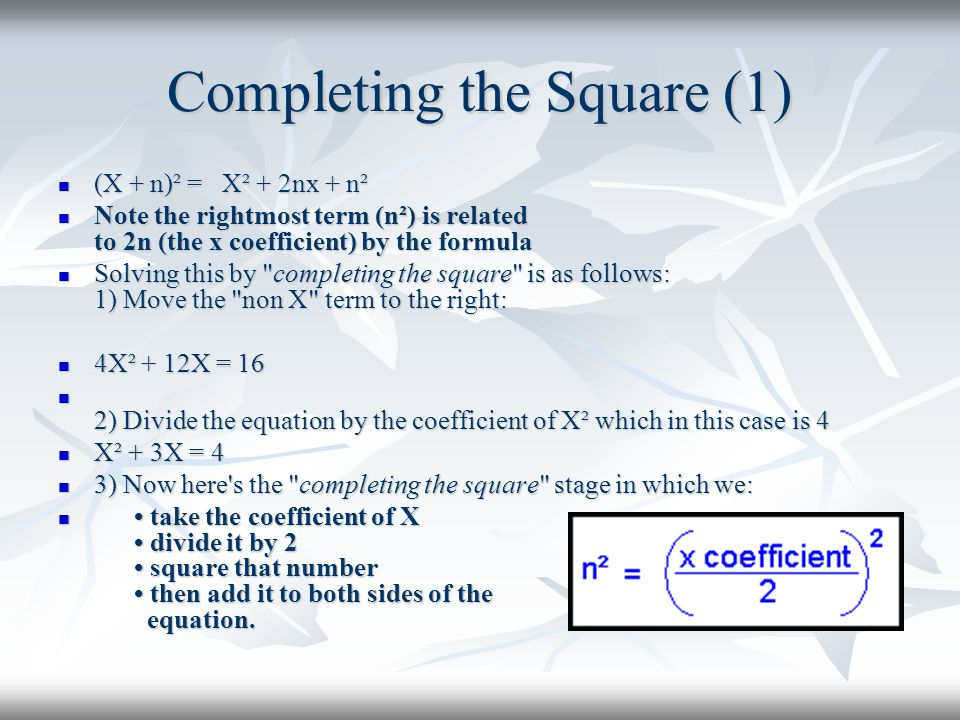 Completing the Square (1)