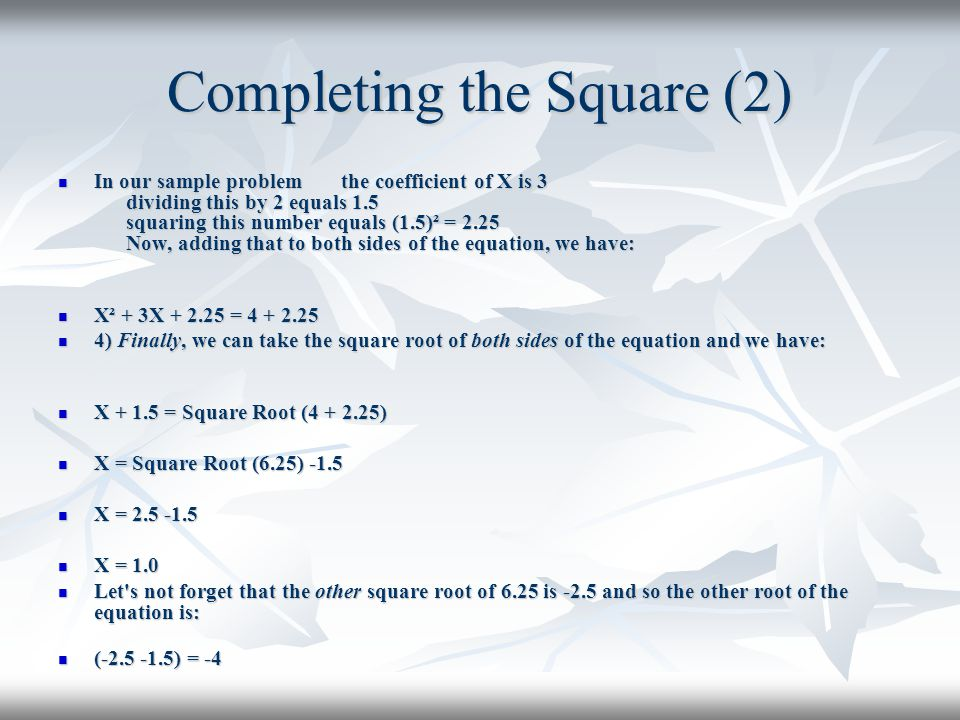 Completing the Square (2)
