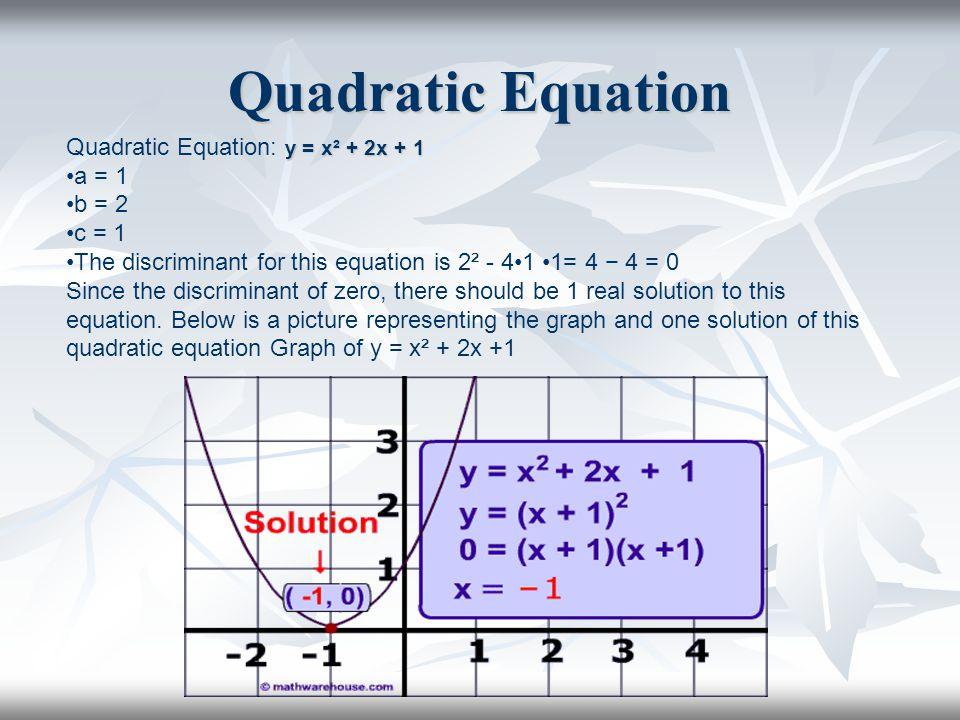 Quadratic Equation Quadratic Equation: y = x² + 2x + 1 a = 1 b = 2