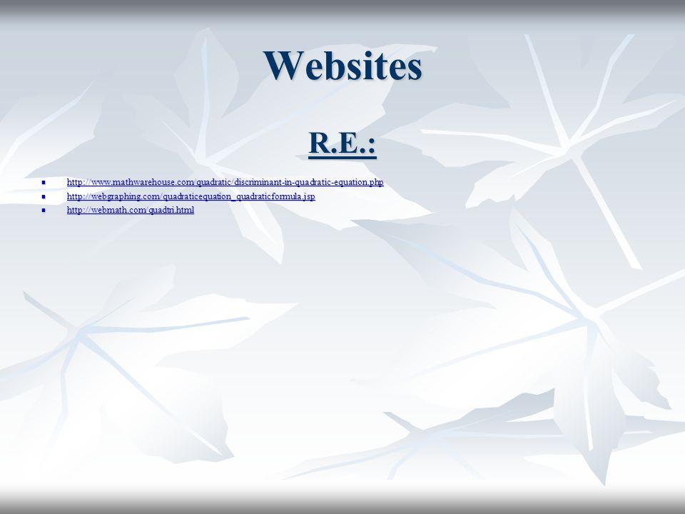 Websites R.E.: http://www.mathwarehouse.com/quadratic/discriminant-in-quadratic-equation.php.